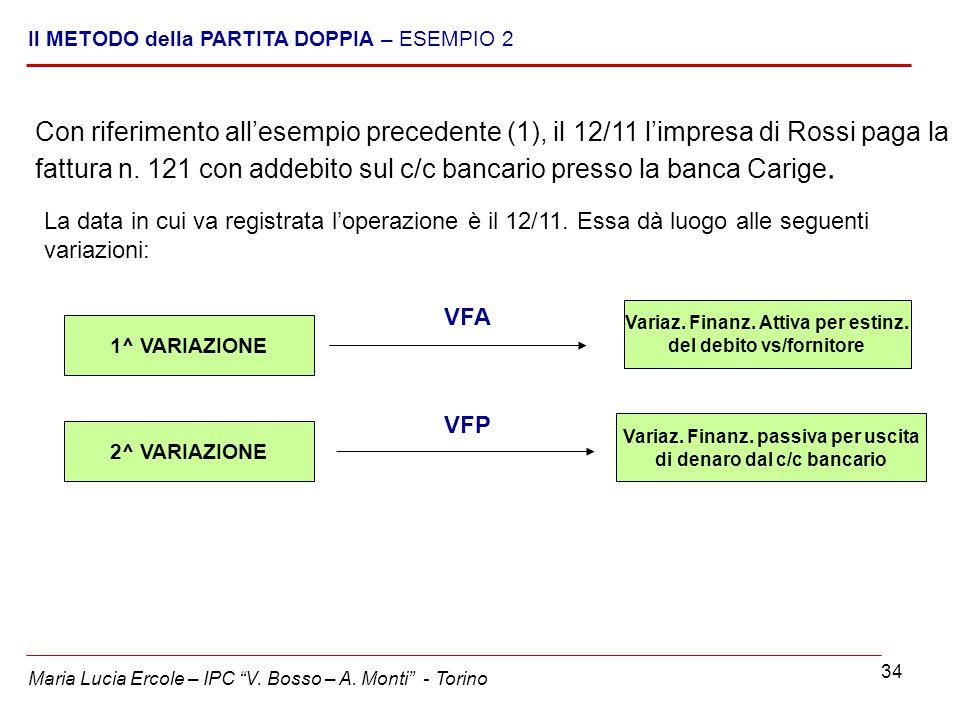 34 Con riferimento all'esempio precedente (1), il 12/11 l'impresa di Rossi paga la fattura n. 121 con addebito sul c/c bancario presso la banca Carige