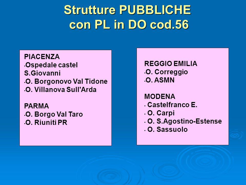 Strutture PUBBLICHE con PL in DO cod.56 PIACENZA Ospedale castel S.Giovanni O.
