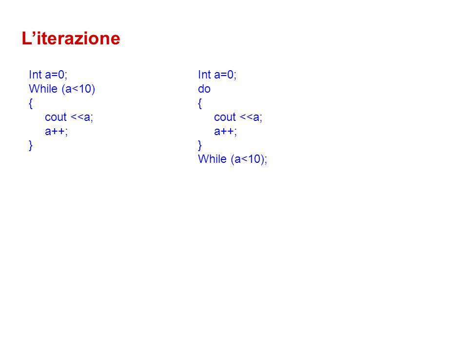 L'iterazione Int a=0; While (a<10) { cout <<a; a++; } Int a=0; do { cout <<a; a++; } While (a<10);