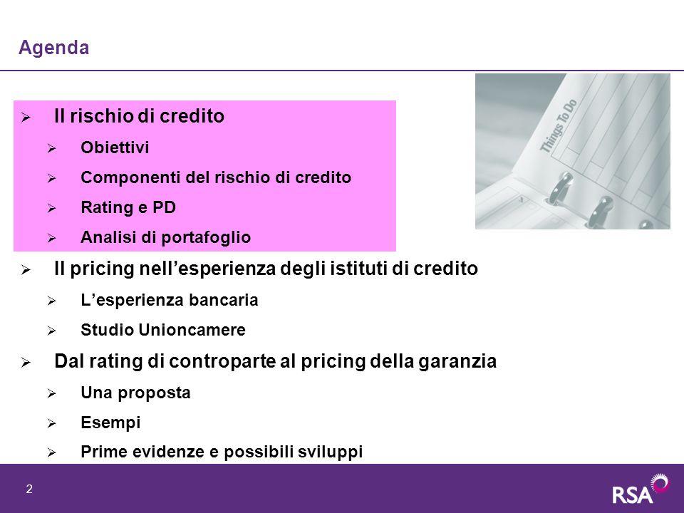 3 Obiettivo - La determinazione dei tassi attivi Obiettivi > sulla scorta di quanto avvenuto con B2 per il mercato bancario, proveremo a proporre una prima proposta di modello di pricing valido per il mercato Cauzioni basato sull'analisi del rischio di credito L'esperienza bancaria: Alcune ricerche hanno messo in evidenza situazioni di mispricing per le banche italiane, spesso sottostimando il rischio di credito e praticando tassi non congrui per la copertura delle componenti di costo: prestiti sottoprezzati rispetto al rischio > quest'area di business sarebbe quindi sostenuta dalle altre tassi indifferenziati tra prenditori > alcuni segmenti di clientela sarebbero penalizzati Risultati: l'applicazione dei Modelli di analisi del rischio di credito permette di calibrare in maniera più precisa il pricing delle operazioni soggette al rischio di credito Pertanto i modelli di tassazione introdotti negli anni recenti hanno avuto le seguenti finalità: