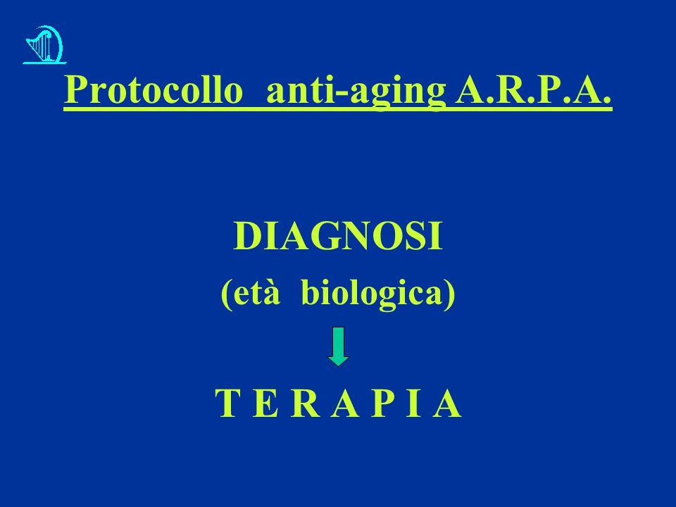 Protocollo anti-aging A.R.P.A. DIAGNOSI (età biologica) T E R A P I A