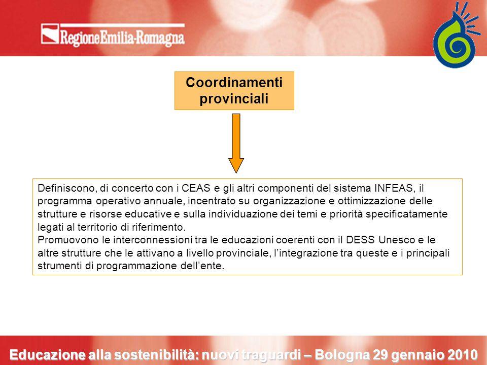 Coordinamenti provinciali Definiscono, di concerto con i CEAS e gli altri componenti del sistema INFEAS, il programma operativo annuale, incentrato su