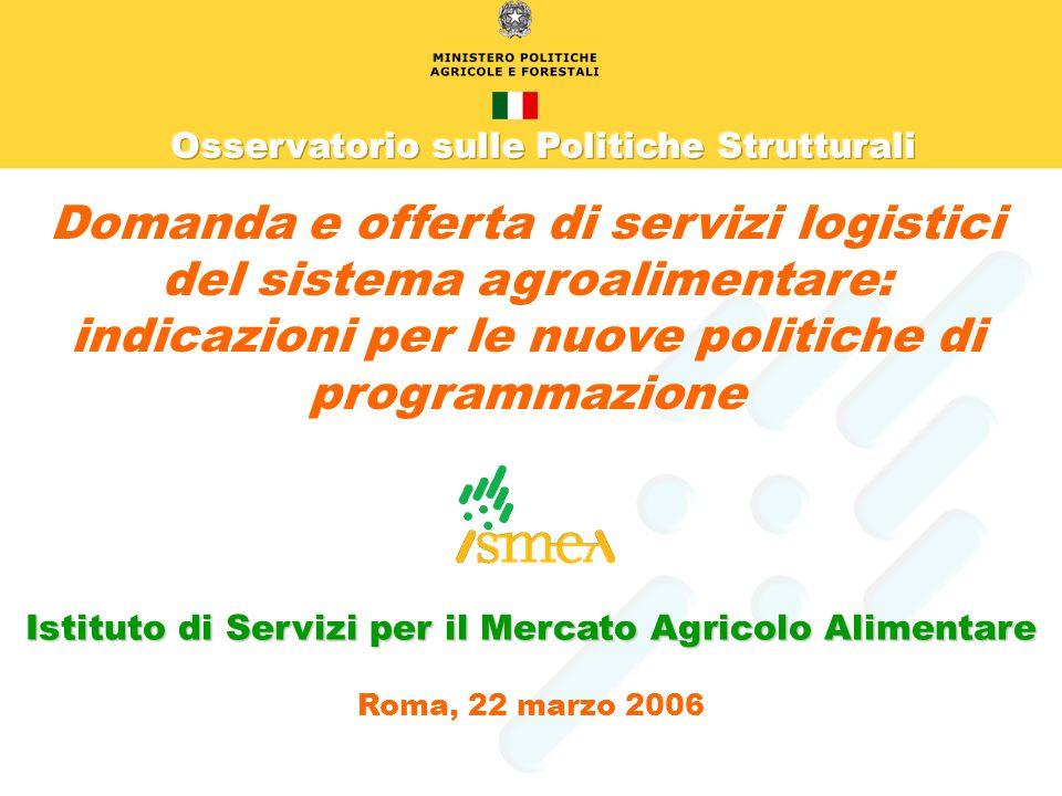Domanda e offerta di servizi logistici del sistema agroalimentare: indicazioni per le nuove politiche di programmazione Istituto di Servizi per il Mercato Agricolo Alimentare Roma, 22 marzo 2006