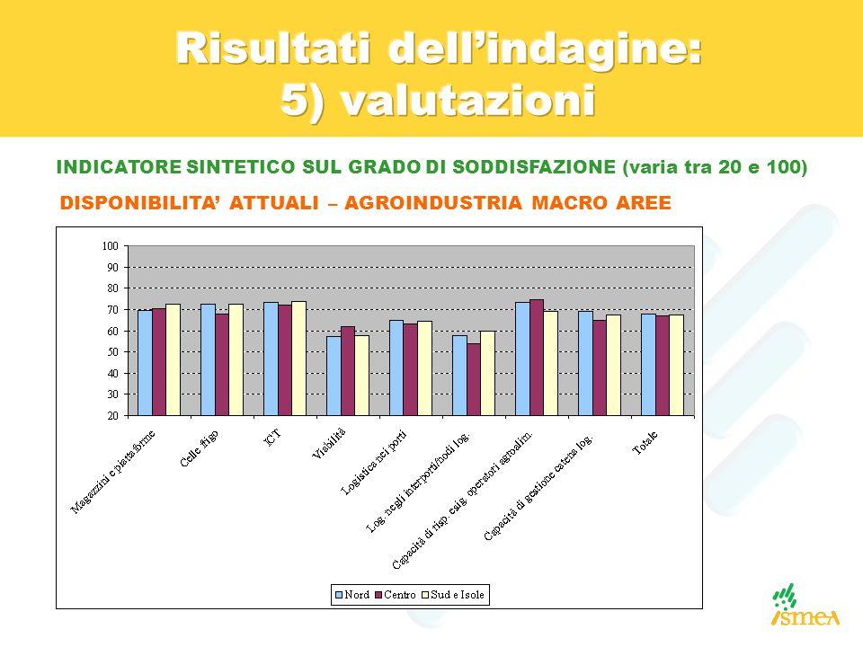 INDICATORE SINTETICO SUL GRADO DI SODDISFAZIONE (varia tra 20 e 100) DISPONIBILITA' ATTUALI – AGROINDUSTRIA MACRO AREE
