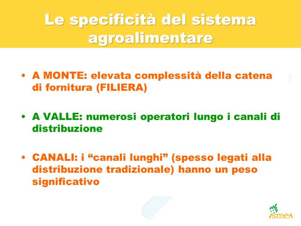 """A MONTE: elevata complessità della catena di fornitura (FILIERA) A VALLE: numerosi operatori lungo i canali di distribuzione CANALI: i """"canali lunghi"""""""