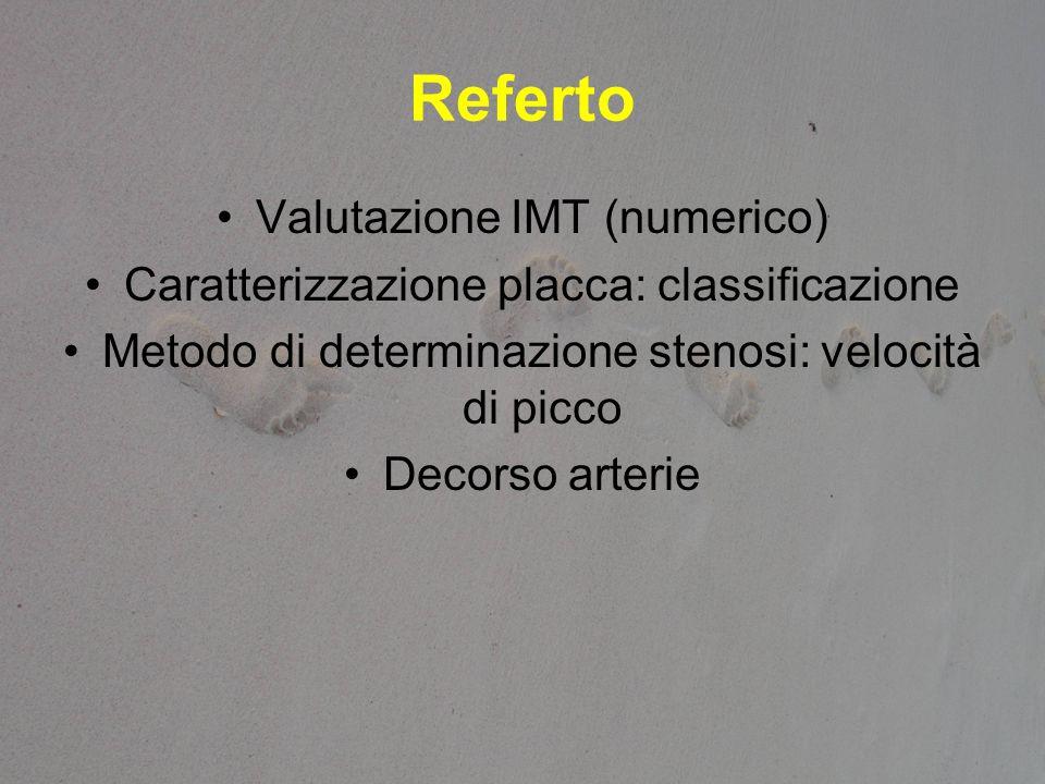 Referto Valutazione IMT (numerico) Caratterizzazione placca: classificazione Metodo di determinazione stenosi: velocità di picco Decorso arterie