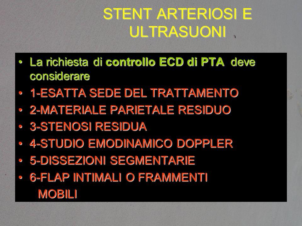 STENT ARTERIOSI E ULTRASUONI La richiesta di controllo ECD di PTA deve considerareLa richiesta di controllo ECD di PTA deve considerare 1-ESATTA SEDE