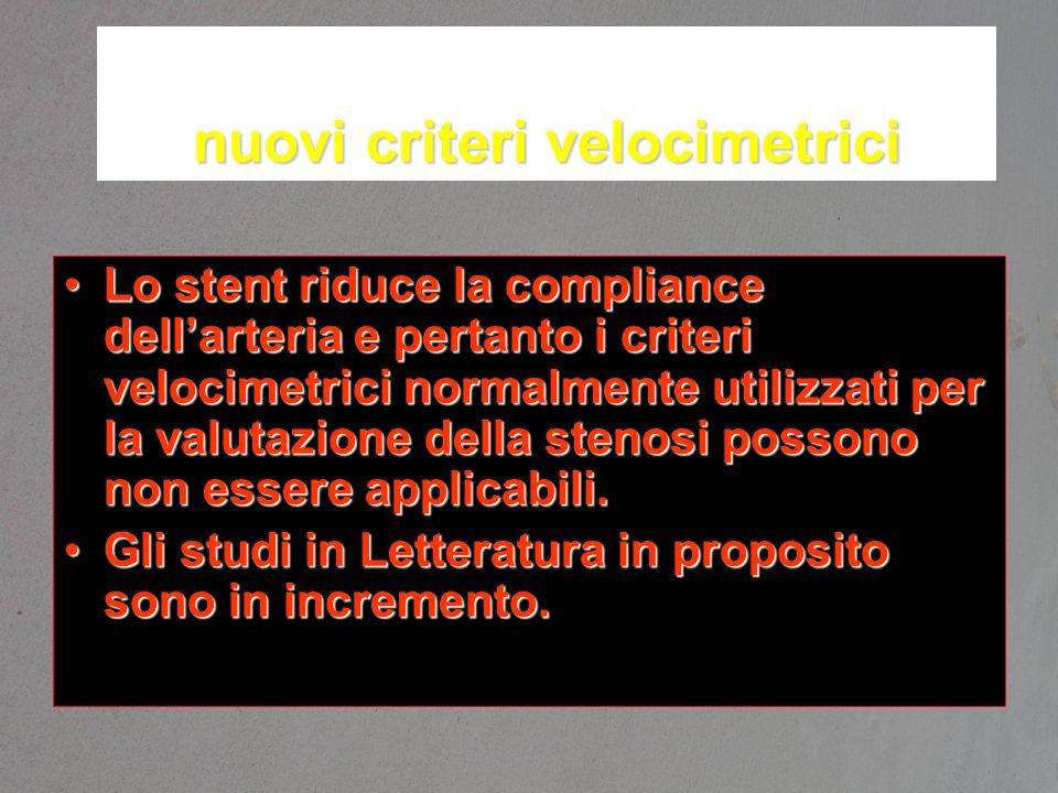 nuovi criteri velocimetrici Lo stent riduce la compliance dell'arteria e pertanto i criteri velocimetrici normalmente utilizzati per la valutazione de