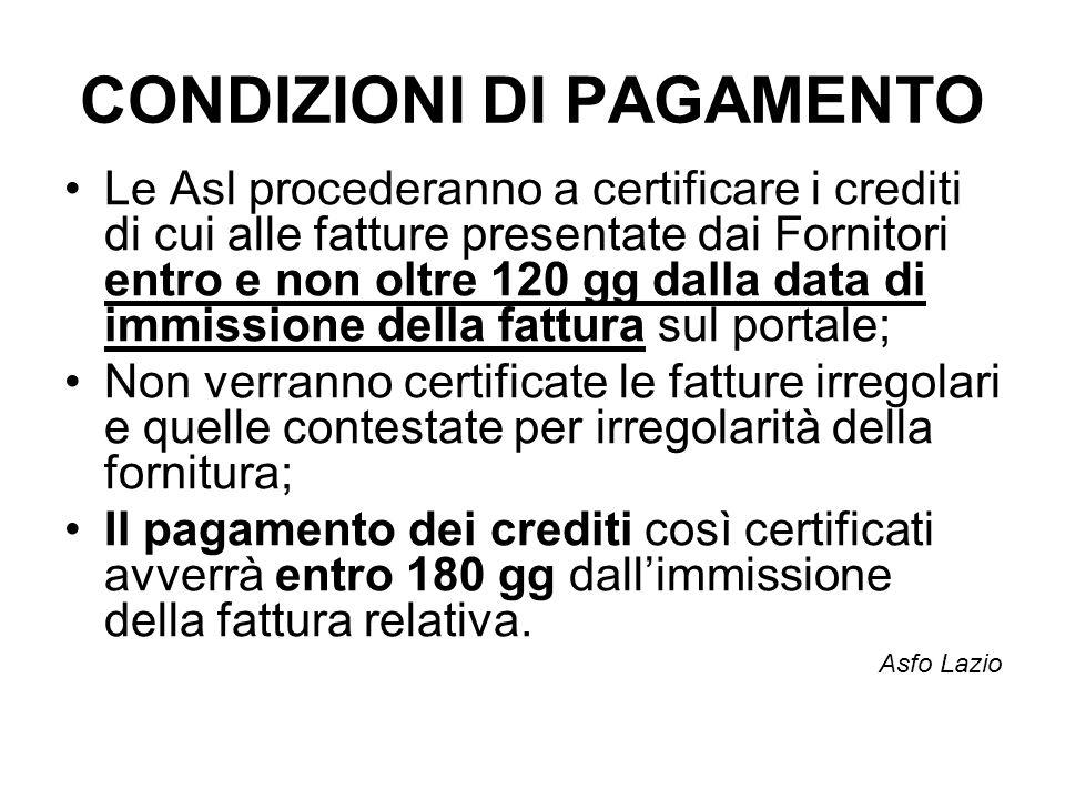 CONDIZIONI DI PAGAMENTO Le Asl procederanno a certificare i crediti di cui alle fatture presentate dai Fornitori entro e non oltre 120 gg dalla data d