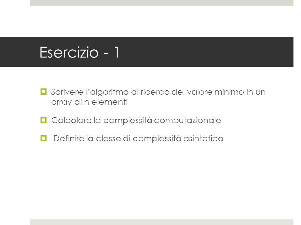 Esercizio - 1  Scrivere l'algoritmo di ricerca del valore minimo in un array di n elementi  Calcolare la complessità computazionale  Definire la classe di complessità asintotica