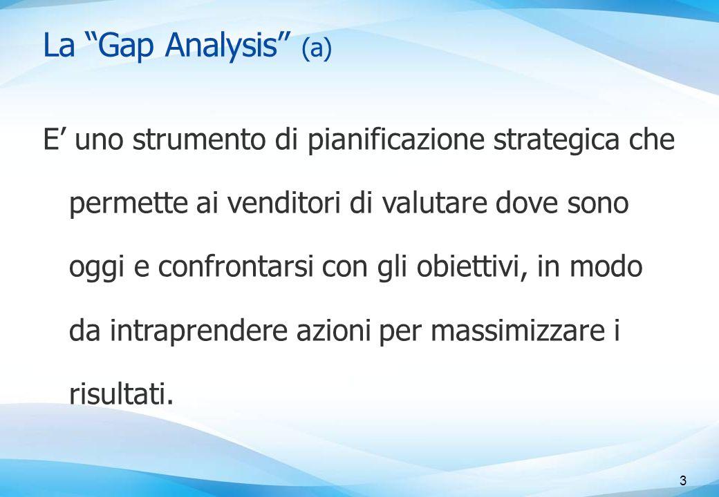 La Gap Analysis (a) E' uno strumento di pianificazione strategica che permette ai venditori di valutare dove sono oggi e confrontarsi con gli obiettivi, in modo da intraprendere azioni per massimizzare i risultati.