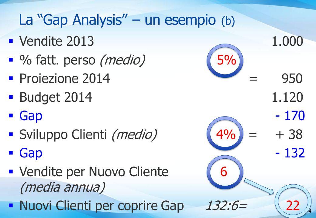 La Gap Analysis – un esempio (b)  Vendite 2013  % fatt.