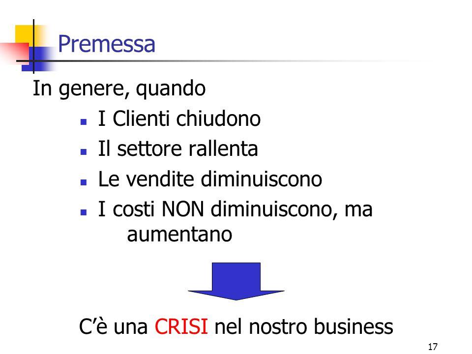 17 Premessa In genere, quando I Clienti chiudono Il settore rallenta Le vendite diminuiscono I costi NON diminuiscono, ma aumentano C'è una CRISI nel