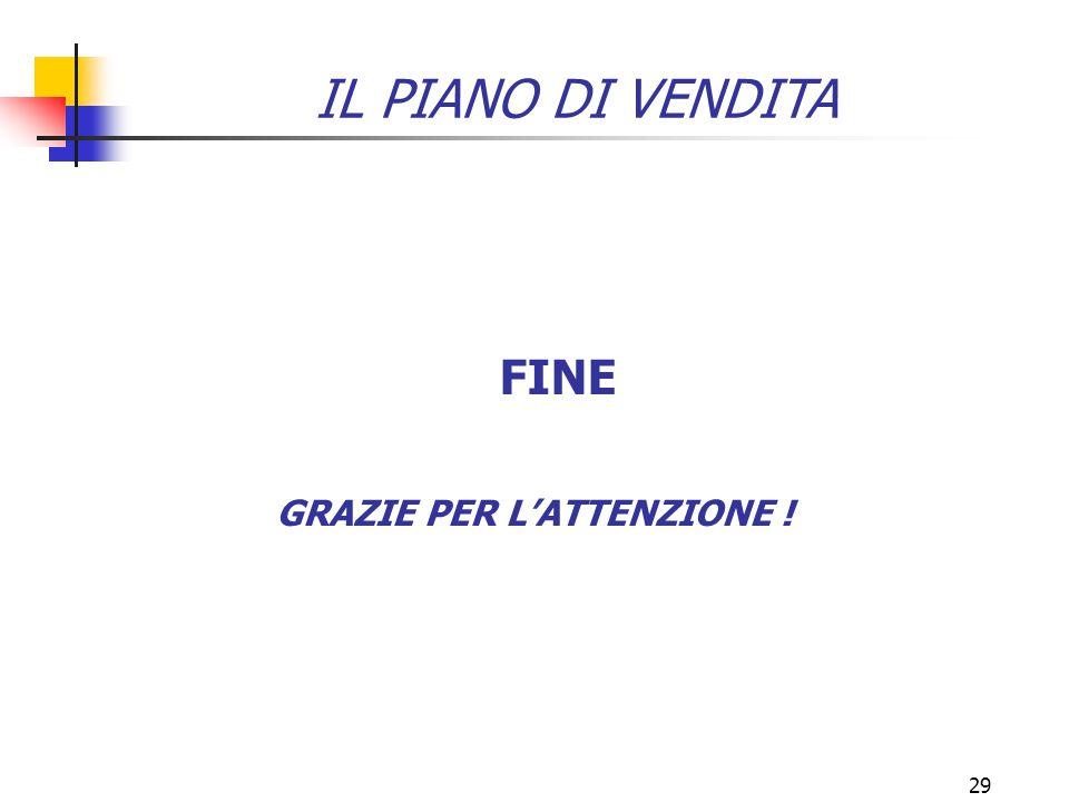 29 GRAZIE PER L'ATTENZIONE ! FINE IL PIANO DI VENDITA