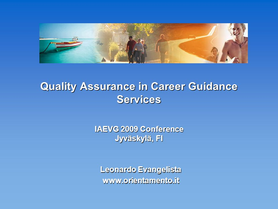 Aim of this presentation This presentation describes a simple model for quality assurance in career guidance.