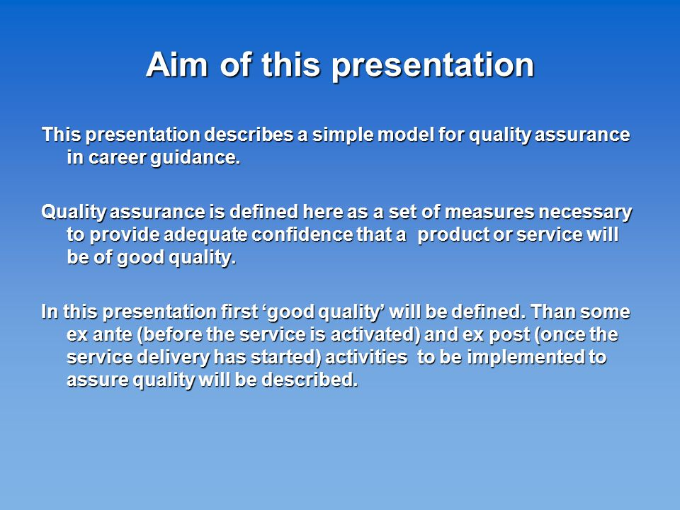 A Definition of Good Quality A good quality product or service is one which: 1.
