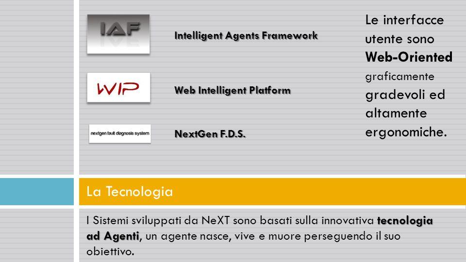 tecnologia ad Agenti I Sistemi sviluppati da NeXT sono basati sulla innovativa tecnologia ad Agenti, un agente nasce, vive e muore perseguendo il suo