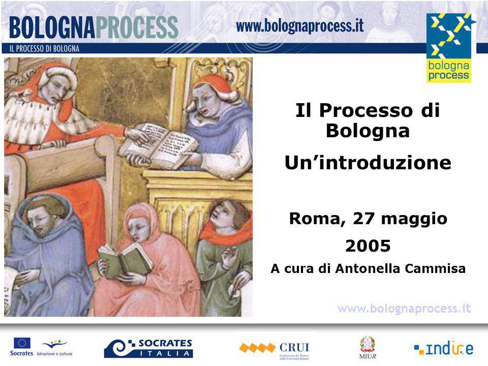 Il Processo di Bologna Un'introduzione Roma, 27 maggio 2005 A cura di Antonella Cammisa www.bolognaprocess.i t