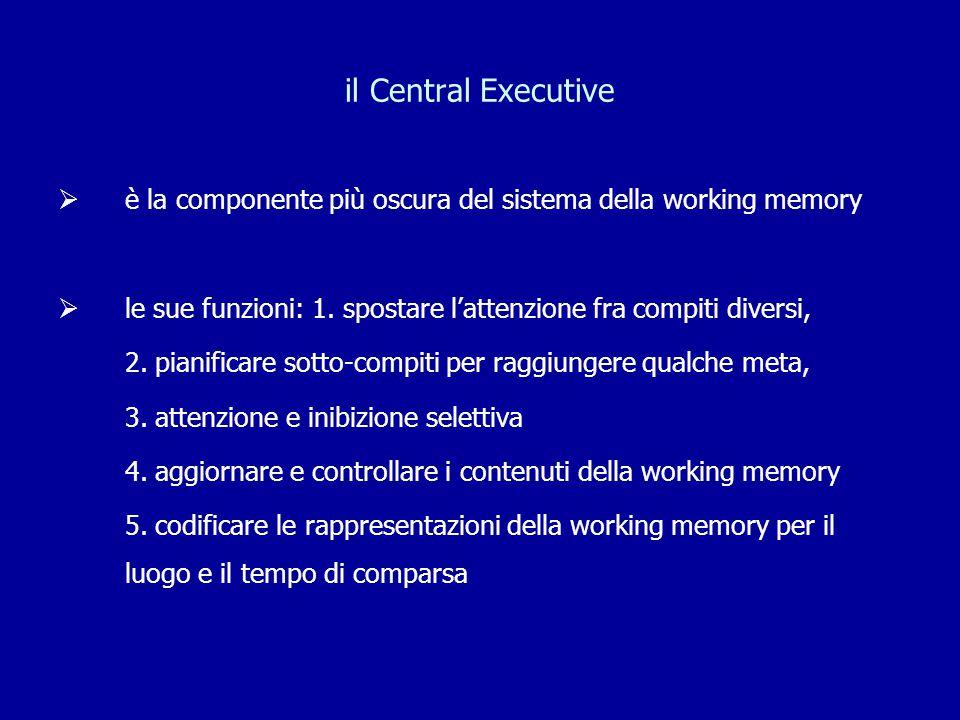 il Central Executive  è la componente più oscura del sistema della working memory  le sue funzioni: 1. spostare l'attenzione fra compiti diversi, 2.