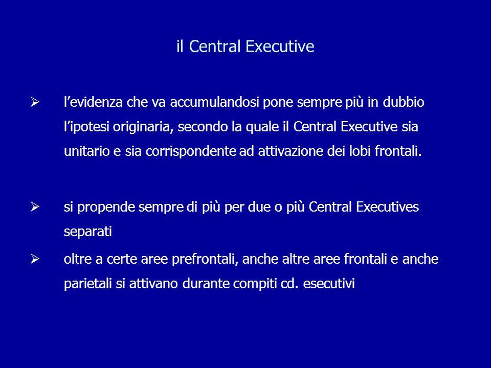 il Central Executive  l'evidenza che va accumulandosi pone sempre più in dubbio l'ipotesi originaria, secondo la quale il Central Executive sia unita