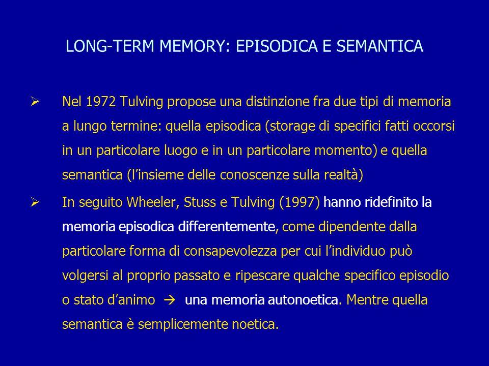 LONG-TERM MEMORY: EPISODICA E SEMANTICA  Nel 1972 Tulving propose una distinzione fra due tipi di memoria a lungo termine: quella episodica (storage