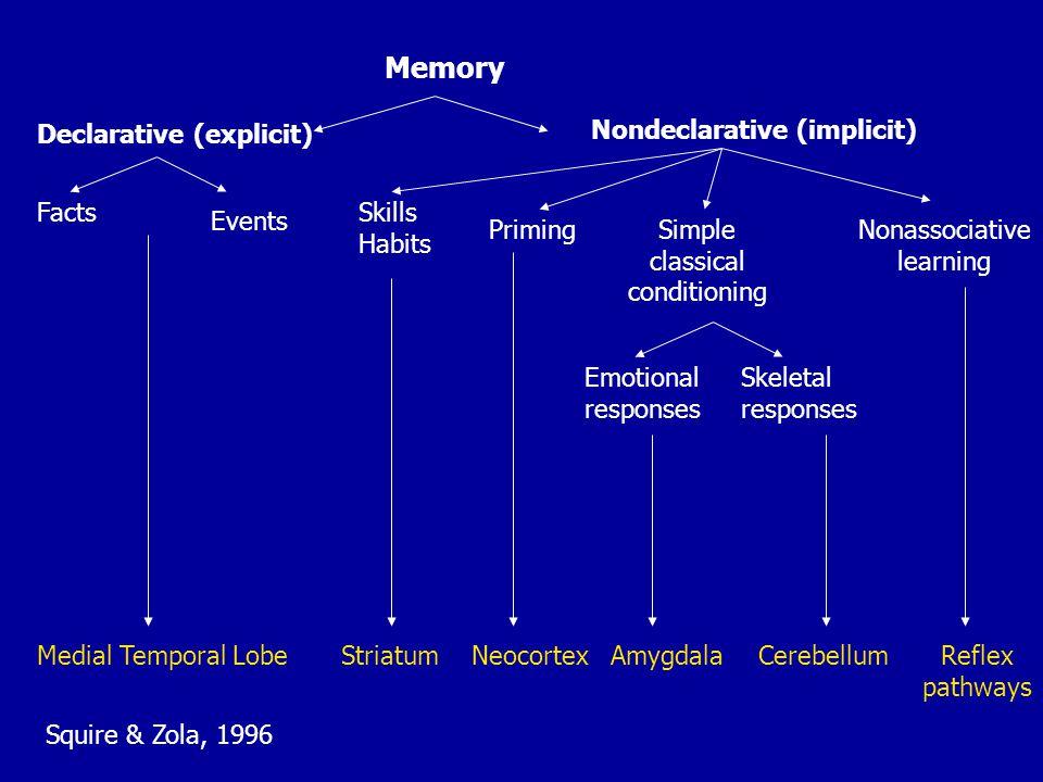 Memory Declarative (explicit) Nondeclarative (implicit) Facts Events Medial Temporal Lobe Skills Habits PrimingSimple classical conditioning Nonassoci