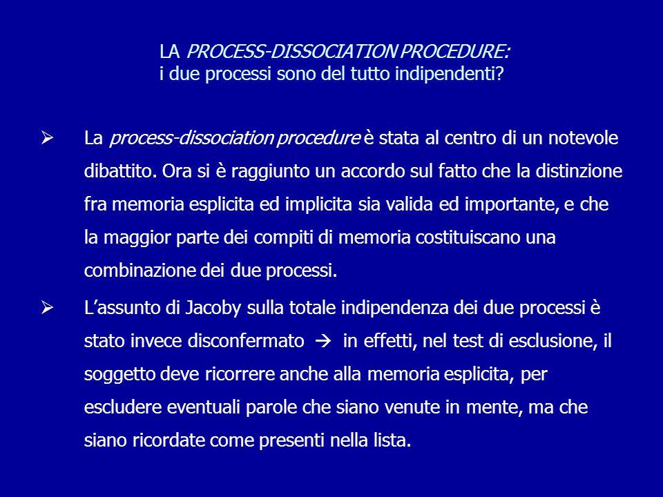 LA PROCESS-DISSOCIATION PROCEDURE: i due processi sono del tutto indipendenti?  La process-dissociation procedure è stata al centro di un notevole di