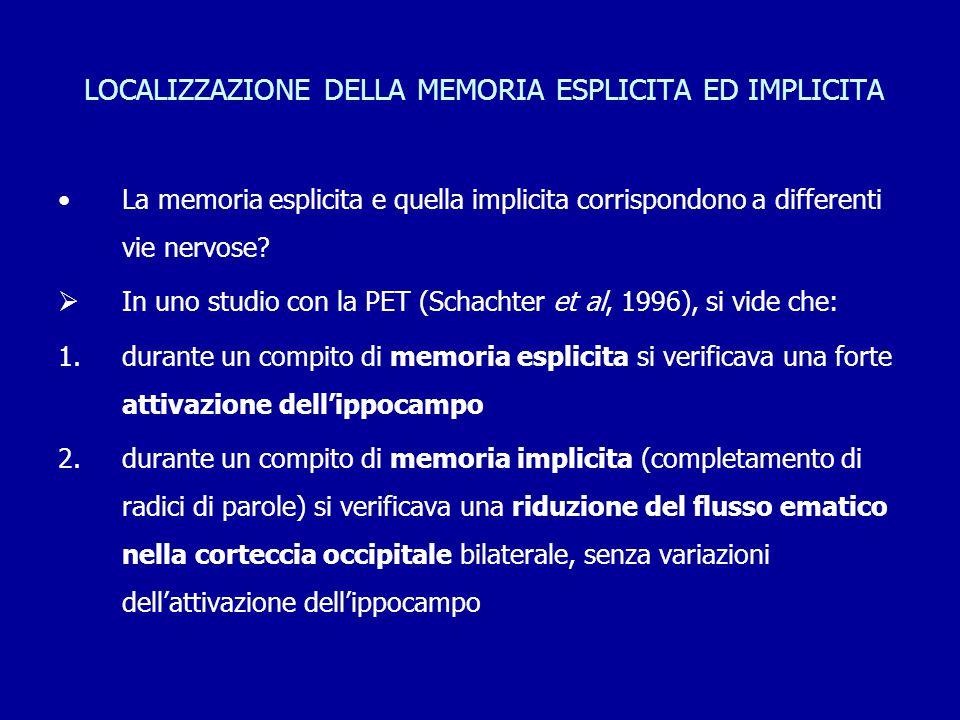 LOCALIZZAZIONE DELLA MEMORIA ESPLICITA ED IMPLICITA La memoria esplicita e quella implicita corrispondono a differenti vie nervose?  In uno studio co