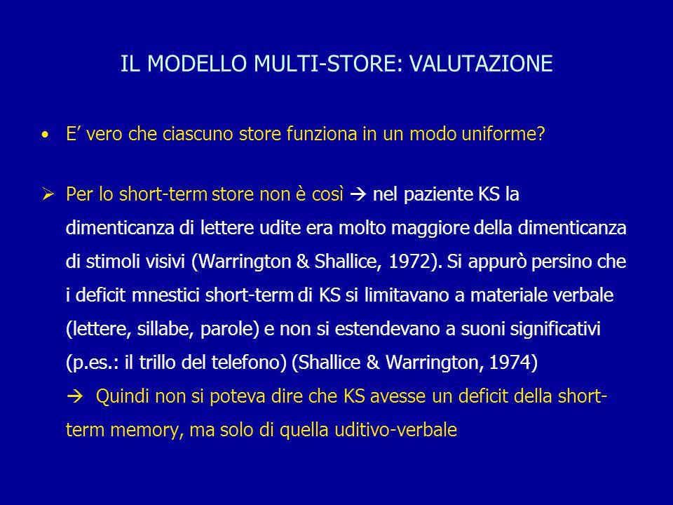 IL MODELLO MULTI-STORE: VALUTAZIONE E' vero che ciascuno store funziona in un modo uniforme?  Per lo short-term store non è così  nel paziente KS la