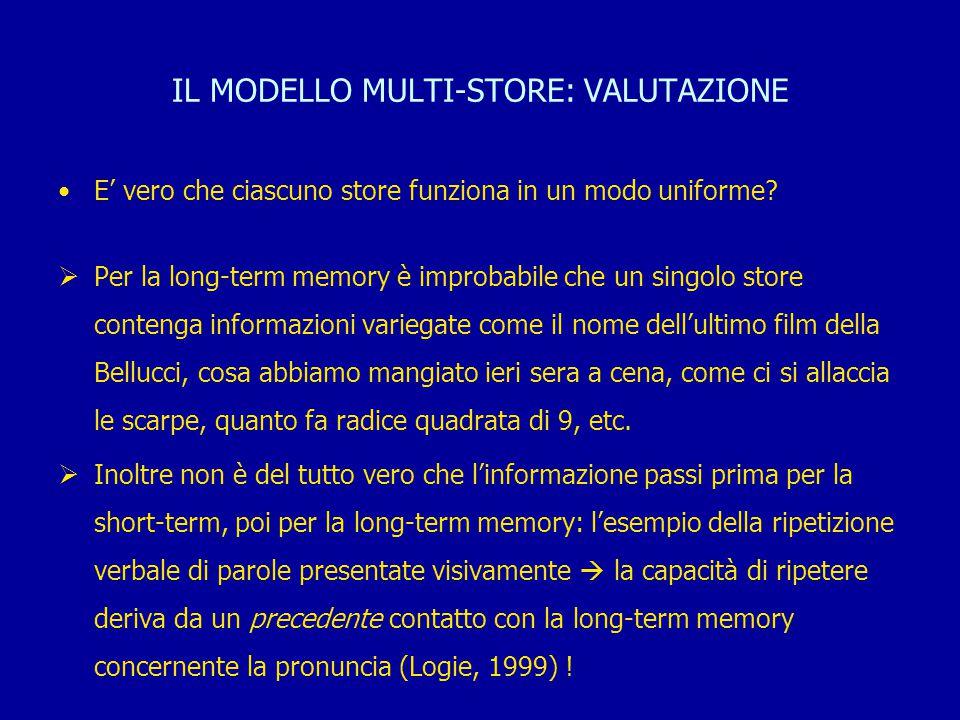 IL MODELLO MULTI-STORE: VALUTAZIONE E' vero che ciascuno store funziona in un modo uniforme?  Per la long-term memory è improbabile che un singolo st