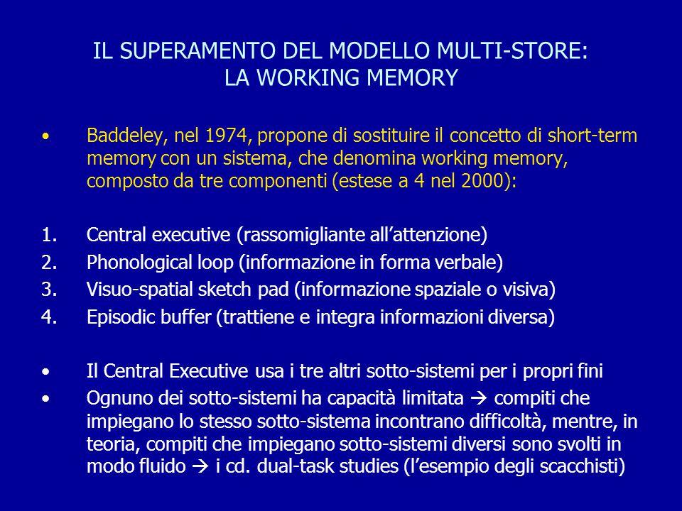 IL SUPERAMENTO DEL MODELLO MULTI-STORE: LA WORKING MEMORY Baddeley, nel 1974, propone di sostituire il concetto di short-term memory con un sistema, c