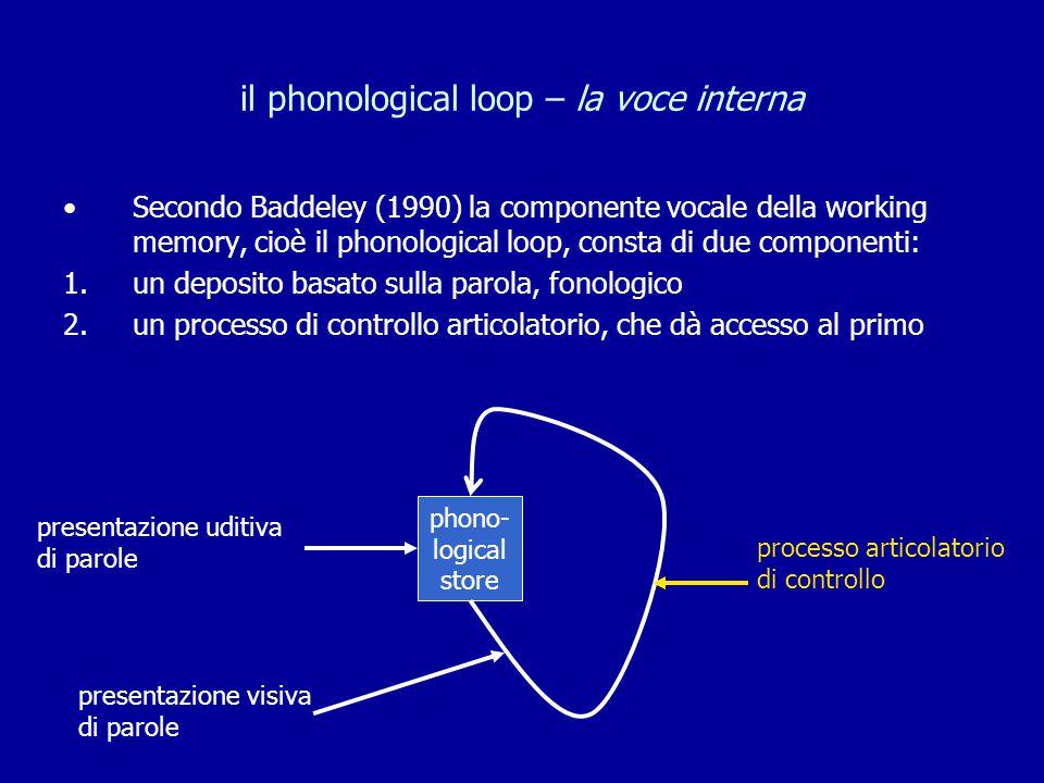 il phonological loop – la voce interna Secondo Baddeley (1990) la componente vocale della working memory, cioè il phonological loop, consta di due com