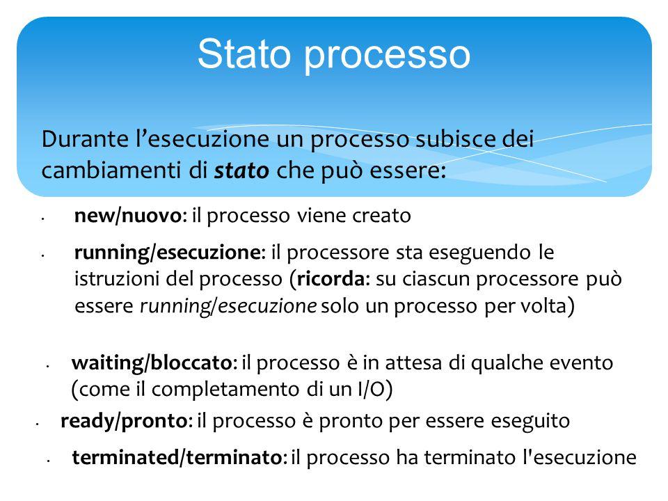 Stato processo Durante l'esecuzione un processo subisce dei cambiamenti di stato che può essere: new/nuovo: il processo viene creato running/esecuzione: il processore sta eseguendo le istruzioni del processo (ricorda: su ciascun processore può essere running/esecuzione solo un processo per volta) waiting/bloccato: il processo è in attesa di qualche evento (come il completamento di un I/O) ready/pronto: il processo è pronto per essere eseguito terminated/terminato: il processo ha terminato l esecuzione