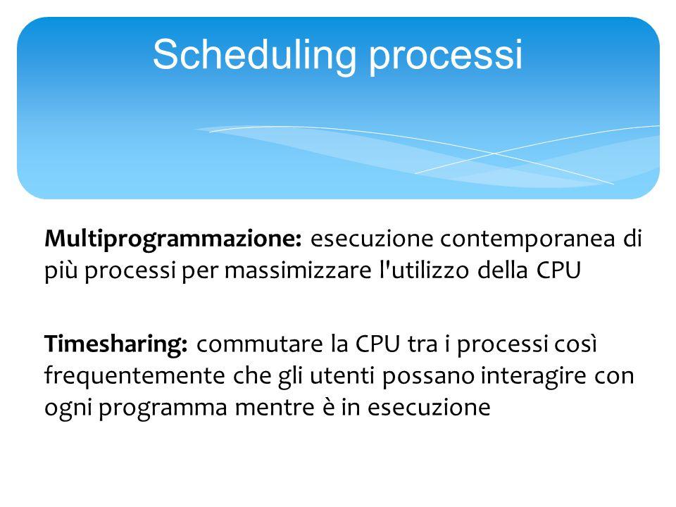 Scheduling processi Multiprogrammazione: esecuzione contemporanea di più processi per massimizzare l utilizzo della CPU Timesharing: commutare la CPU tra i processi così frequentemente che gli utenti possano interagire con ogni programma mentre è in esecuzione