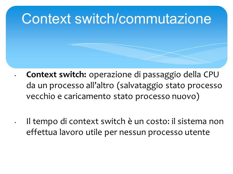 Context switch/commutazione Context switch: operazione di passaggio della CPU da un processo all'altro (salvataggio stato processo vecchio e caricamento stato processo nuovo) Il tempo di context switch è un costo: il sistema non effettua lavoro utile per nessun processo utente