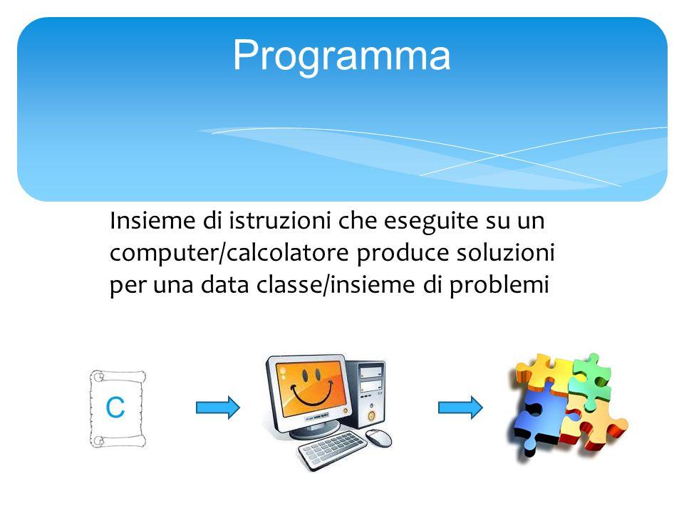 Programma Insieme di istruzioni che eseguite su un computer/calcolatore produce soluzioni per una data classe/insieme di problemi