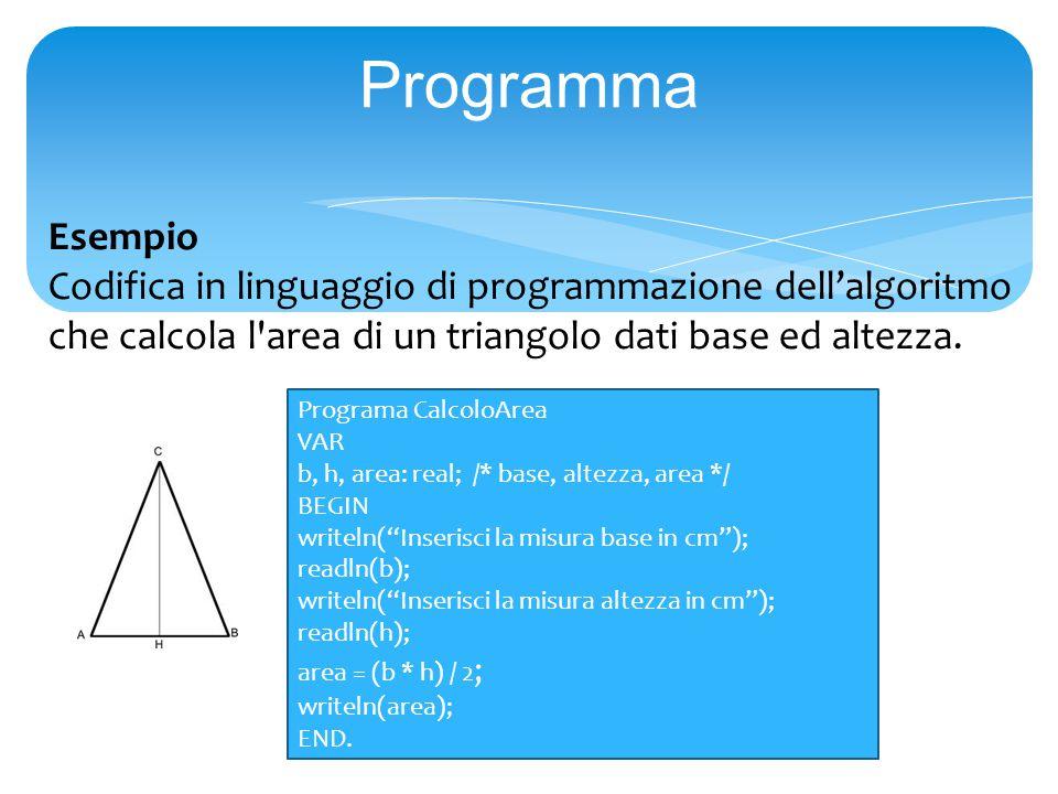 Programma Esempio Codifica in linguaggio di programmazione dell'algoritmo che calcola l area di un triangolo dati base ed altezza.