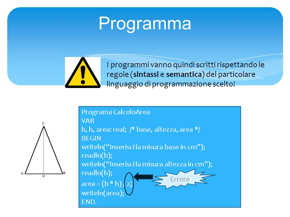 Programa CalcoloArea VAR b, h, area: real; /* base, altezza, area */ BEGIN writeln( Inserisci la misura base in cm ); readln(b); writeln( Inserisci la misura altezza in cm ); readln(h); area = (b * h) / 2 ; writeln(area); END.