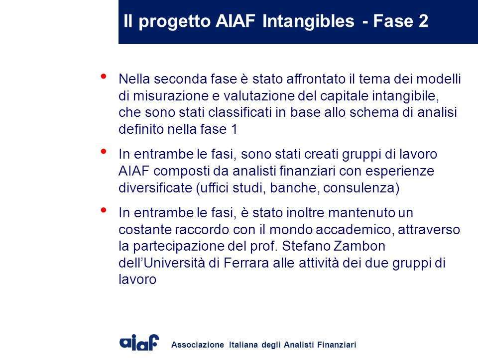Associazione Italiana degli Analisti Finanziari Skandia Navigator process model VISION & BUSINESS CONCEPS FINANCIAL CUSTOMER PROCESS HUMAN RENEWAL & DEVELOPMENT ACTION PLAN INDICATORS SUCCESS STEP 1 Definire la vision .