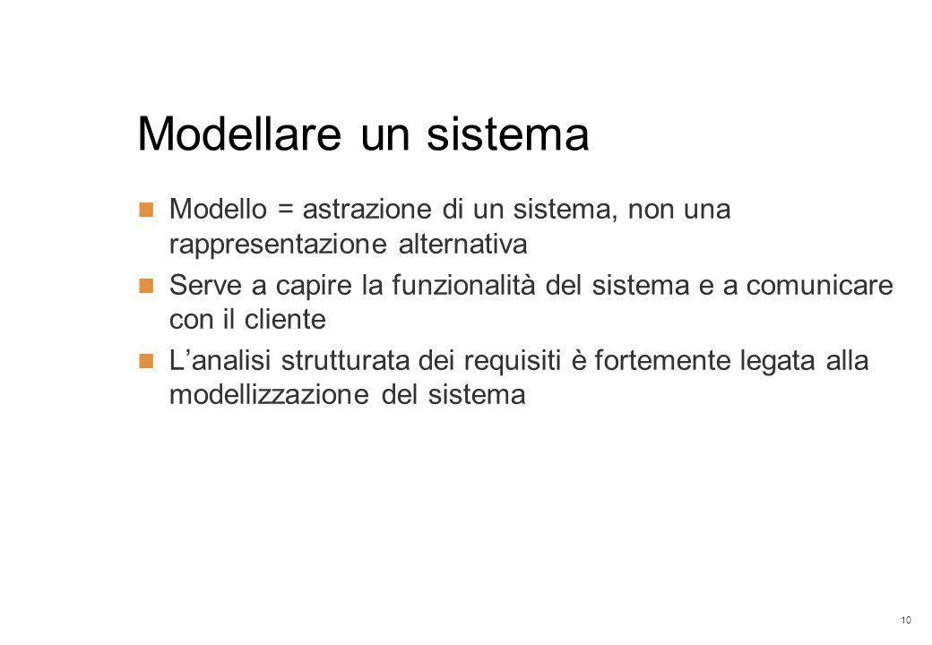 10 Modellare un sistema Modello = astrazione di un sistema, non una rappresentazione alternativa Serve a capire la funzionalità del sistema e a comunicare con il cliente L'analisi strutturata dei requisiti è fortemente legata alla modellizzazione del sistema
