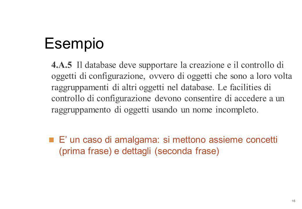 16 Esempio 4.A.5 Il database deve supportare la creazione e il controllo di oggetti di configurazione, ovvero di oggetti che sono a loro volta raggruppamenti di altri oggetti nel database.