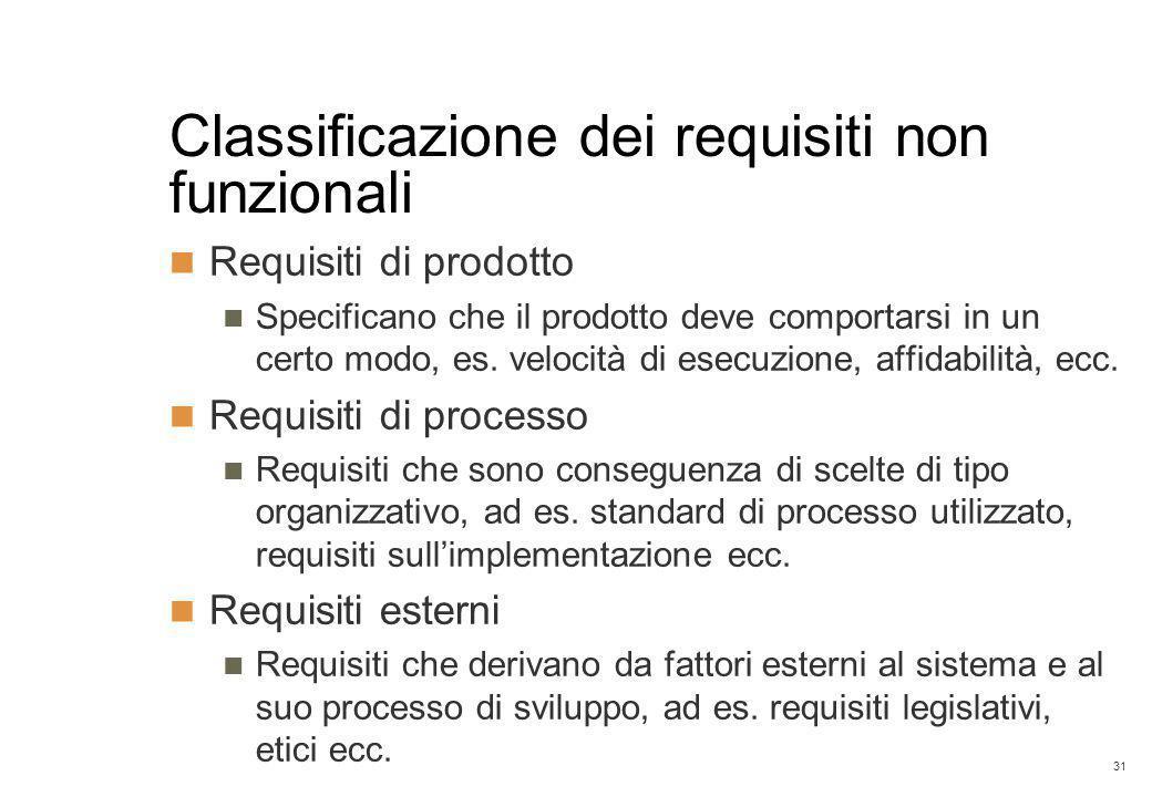 31 Classificazione dei requisiti non funzionali Requisiti di prodotto Specificano che il prodotto deve comportarsi in un certo modo, es.