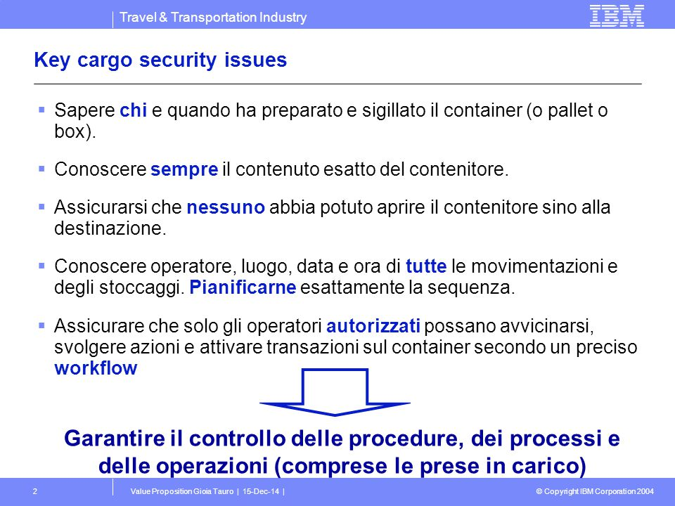 Travel & Transportation Industry © Copyright IBM Corporation 2004 Value Proposition Gioia Tauro | 15-Dec-14 |2 Key cargo security issues  Sapere chi
