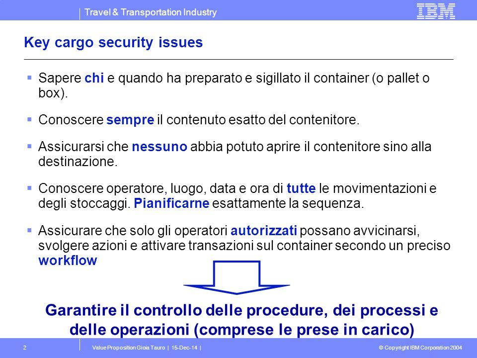 Travel & Transportation Industry © Copyright IBM Corporation 2004 Value Proposition Gioia Tauro | 15-Dec-14 |3 Key security trends  Convergenza della security logica e fisica.
