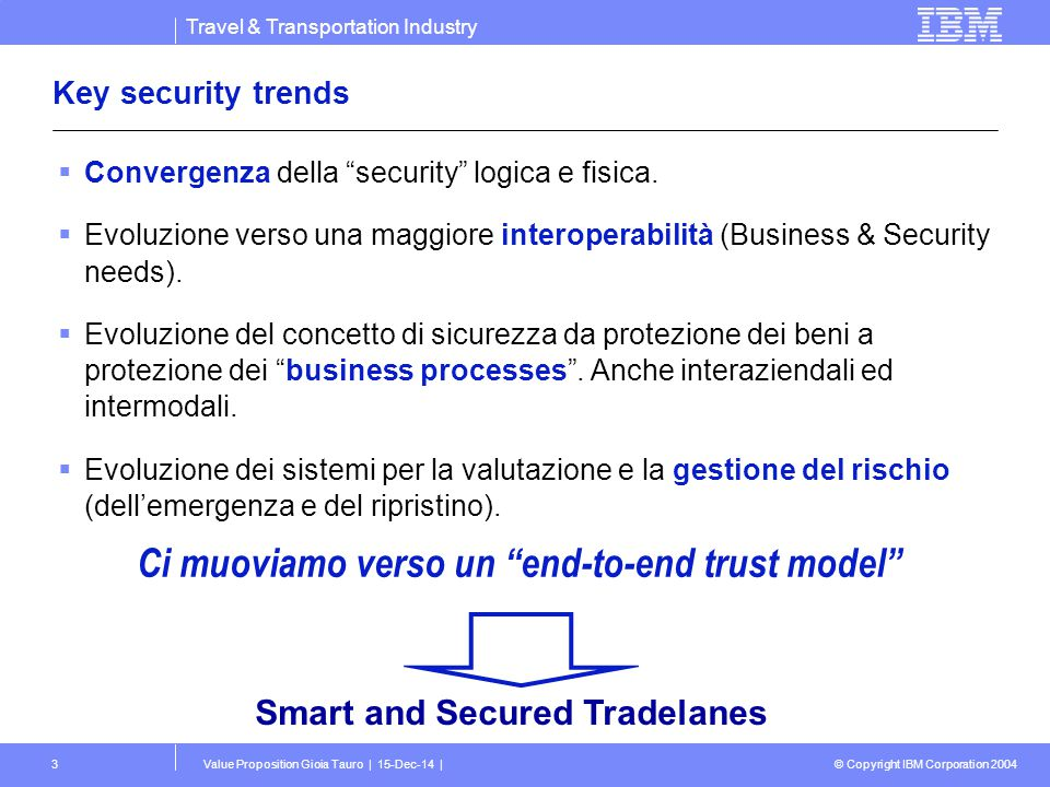Travel & Transportation Industry © Copyright IBM Corporation 2004 Value Proposition Gioia Tauro | 15-Dec-14 |3 Key security trends  Convergenza della security logica e fisica.
