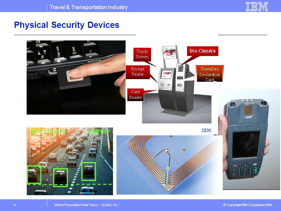 Travel & Transportation Industry © Copyright IBM Corporation 2004 Value Proposition Gioia Tauro | 15-Dec-14 |4 Physical Security Devices