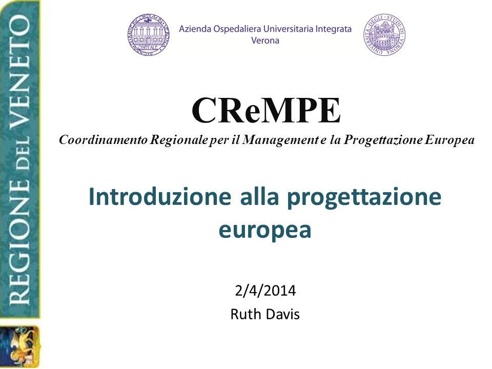 CReMPE Coordinamento Regionale per il Management e la Progettazione Europea Introduzione alla progettazione europea 2/4/2014 Ruth Davis
