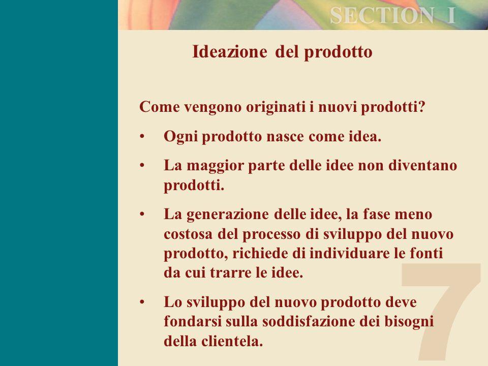 7 Ideazione del prodotto Come vengono originati i nuovi prodotti.