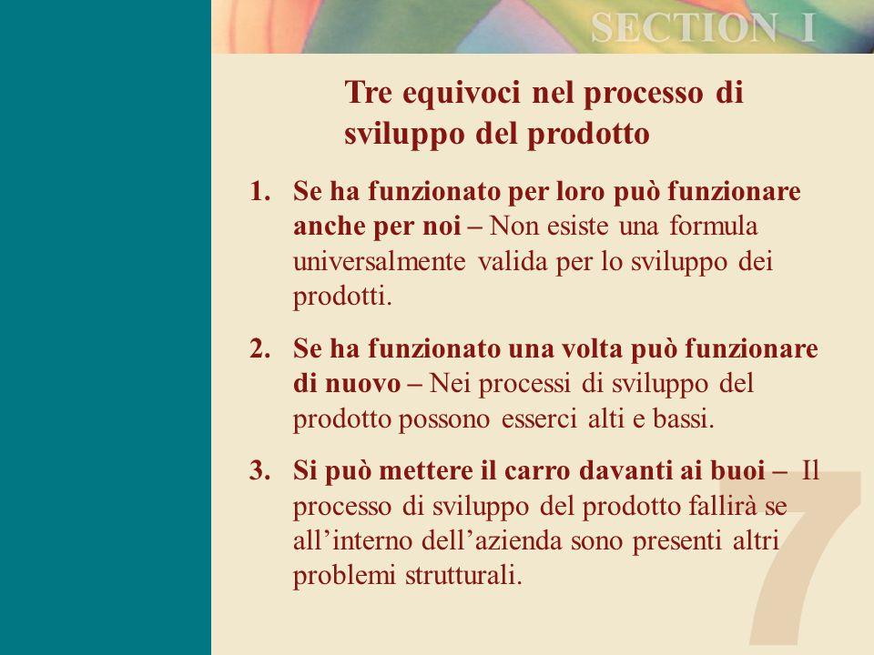 7 Tre equivoci nel processo di sviluppo del prodotto 1.Se ha funzionato per loro può funzionare anche per noi – Non esiste una formula universalmente valida per lo sviluppo dei prodotti.