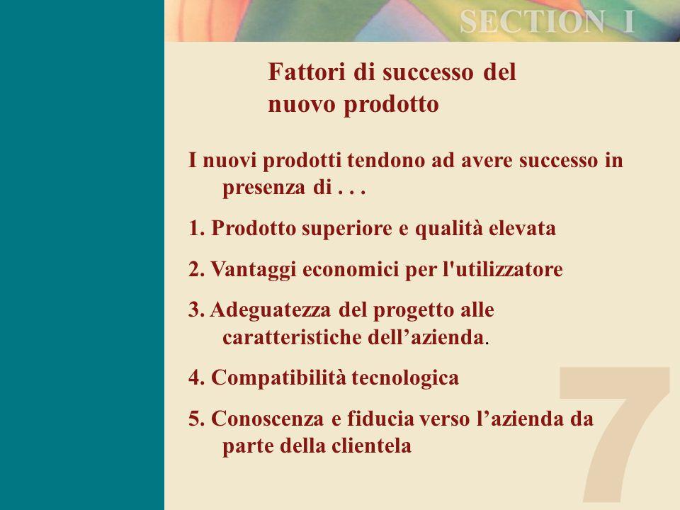 7 Fattori di successo del nuovo prodotto I nuovi prodotti tendono ad avere successo in presenza di...